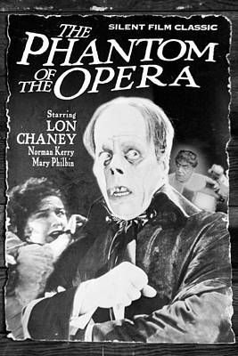 Modern Man Music - Lon Chaney The Phantom of the Opera Silent Film Poster in The Old Opera House BW by Sally Rockefeller