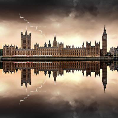 Lightning Digital Art - London - The Houses Of Parliament  by Jaroslaw Grudzinski