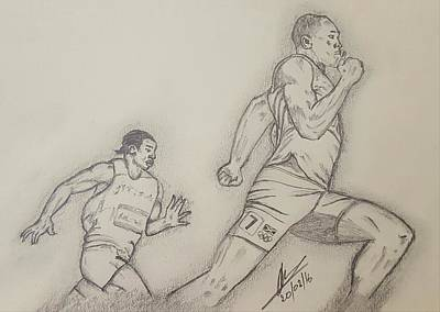 Usain Bolt Drawing - London 2012 Mens 200m Final by Collin A Clarke