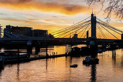 Photograph - London Albert Bridge At Sunset by Jacek Wojnarowski