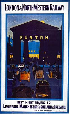 Western Art Mixed Media - London And North Western Railway - Night Trains - Retro Travel Poster - Vintage Poster by Studio Grafiikka