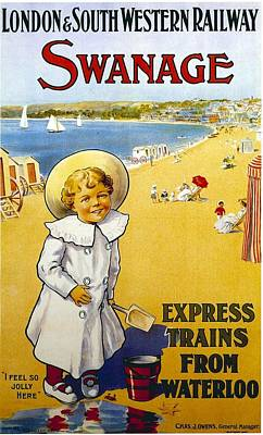 Train Mixed Media - London And South Western Railway - Swanage, England - Retro Travel Poster - Vintage Poster by Studio Grafiikka