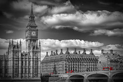 London Big Ben And Red Bus Print by Melanie Viola
