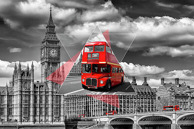 Bus Photograph - London Big Ben And Red Busses - Geometric Collage by Melanie Viola