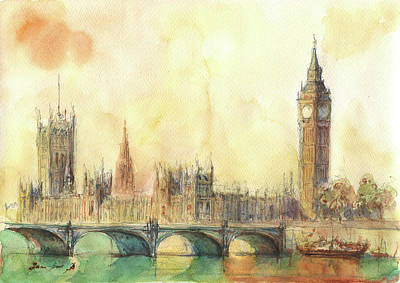 Big Ben Wall Art - Painting - London Big Ben And Thames River by Juan Bosco