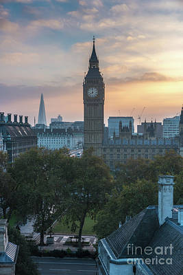 Photograph - London Big Ben And The Shard Sunrise by Mike Reid