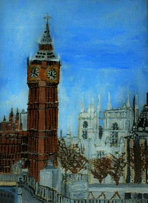 Painting - London Big Ben Clock  by Leslye Miller