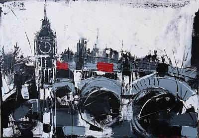 London Skyline Painting - London Big Ben Print by Irina Rumyantseva