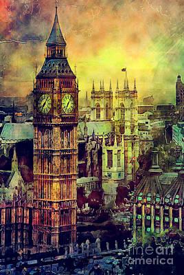 London Skyline Paintings - London Big Ben watercolor by Justyna JBJart