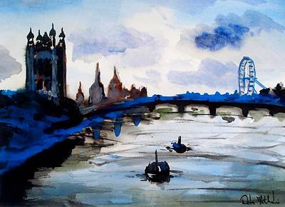 Painting - London Blue - Art By Dora Hathazi Mendes by Dora Hathazi Mendes