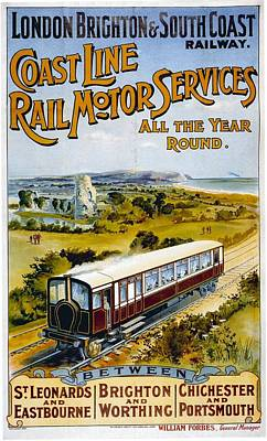 Mixed Media - London Brighton And South Coast Railway - Retro Travel Poster - Vintage Poster by Studio Grafiikka