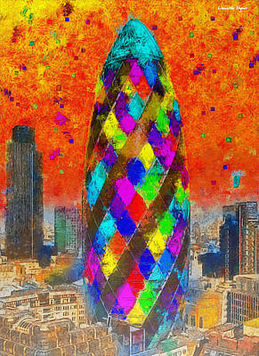 Gherkin Painting - London Bullet 3 - Pa by Leonardo Digenio