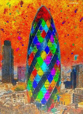Signed Digital Art - London Bullet 4 - Da by Leonardo Digenio
