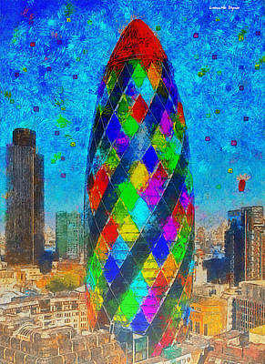Mosaic Painting - London Bullet - Pa by Leonardo Digenio