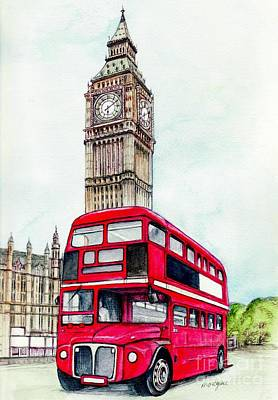 Cities Mixed Media - London Bus And Big Ben by Morgan Fitzsimons