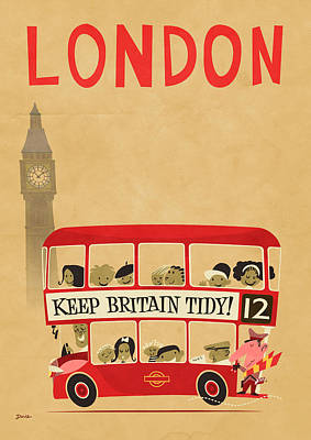 Cartoonist Digital Art - London By Bus by Daviz Industries