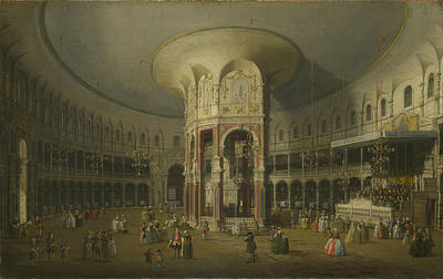 Glass Oil Dome Painting - London  by Canaletto