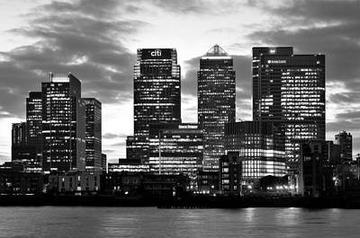 Photograph - London Canary Wharf Monochrome by Marek Stepan