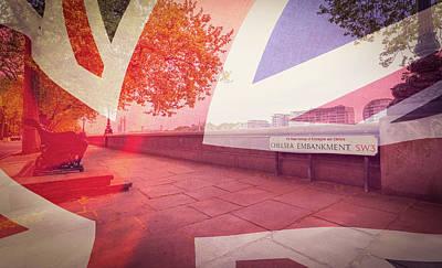 Photograph - London Chelsea Embankment Blended With British Flag by Jacek Wojnarowski