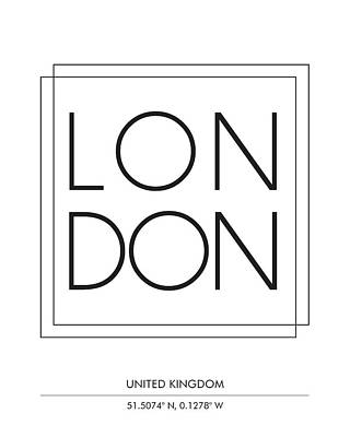 Print Mixed Media - London City Print With Coordinates by Studio Grafiikka