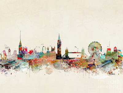 Painting - London City Skyline by Bleu Bri