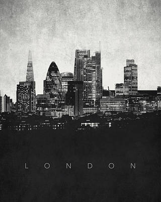 London Skyline Digital Art - London City Skyline - Urban Noir by World Art Prints And Designs
