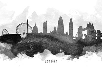 London Skyline Paintings - London Cityscape 11 by Aged Pixel