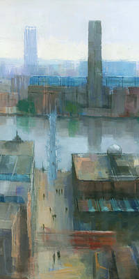 Light Blue Painting - London Cityscape Detail by Steve Mitchell
