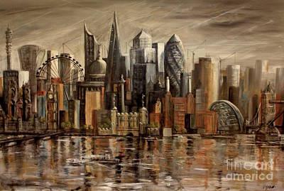 London Cityscape Art Print by Yvonne Ayoub