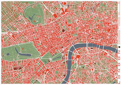 Hyde Park Digital Art - London Classic Map by Jasone Ayerbe- Javier R Recco