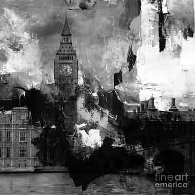 City Scape Painting - Big Ben London Clock Tower  by Gull G