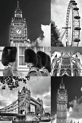 Photograph - London Collage Bw by Mihaela Pater