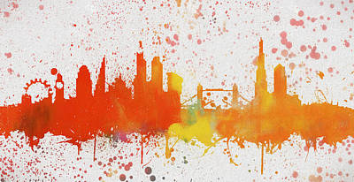 London Skyline Paintings - London Colorful Skyline by Dan Sproul