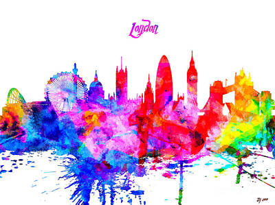 London Skyline Mixed Media - London Colorful Skyline by Daniel Janda