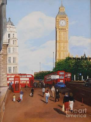 Streetscape Mixed Media - London Corner by James Rodriguez