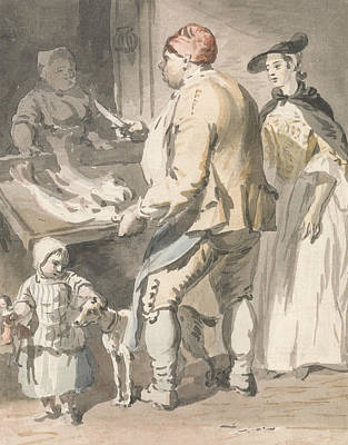 18th Century Painting - London Cries - A Fishmonger by Paul Sandby