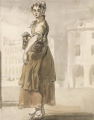 Painting - London Cries - A Girl With A Basket Of Oranges by Paul Sandby