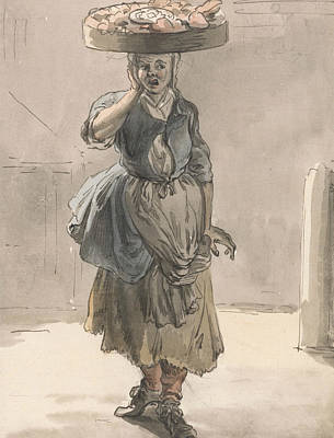 Basket Head Painting - London Cries - A Girl With A Basket On Her Head by Paul Sandby