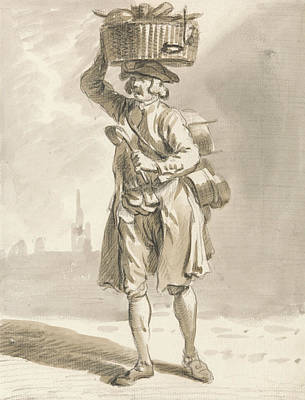Paul Drawing - London Cries - A Man With A Basket  by Paul Sandby