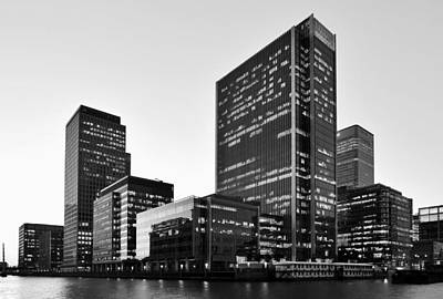Photograph - London Docklands Skyline Monochrome by Marek Stepan