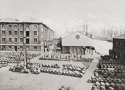 Dock Drawing - London Docks, Port Of London, London by Vintage Design Pics
