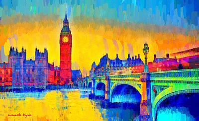 River Thames Digital Art - London Downtown 3 - Da by Leonardo Digenio