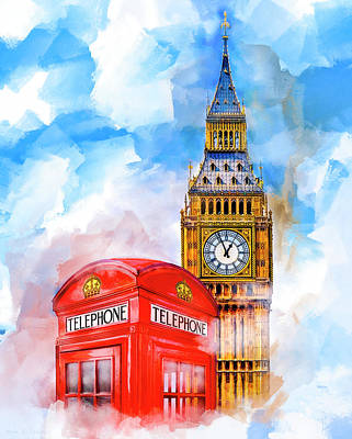 Art Print featuring the mixed media London Dreaming by Mark E Tisdale