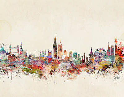 Painting - London England City Skyline by Bleu Bri