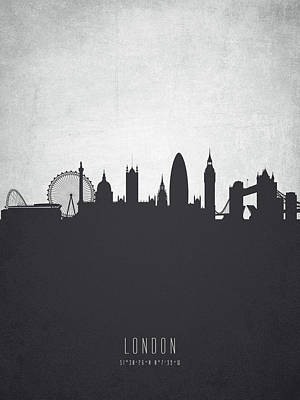 London Skyline Painting - London England Cityscape 19 by Aged Pixel