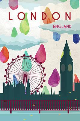 London Eye Painting - London, England by Natalie Ryan