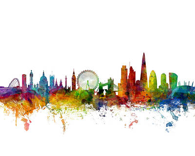 Digital Art - London England Skyline 16x20 Ratio by Michael Tompsett