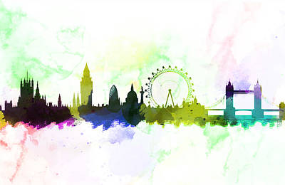 London Skyline Painting - London England Skyline  by Enki Art