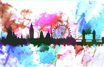 London Skyline Painting - London England Skyline Evening by Enki Art