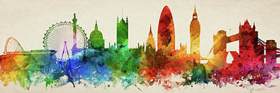 London Digital Art - London England Skyline Panorama Gblo-pa02 by Aged Pixel